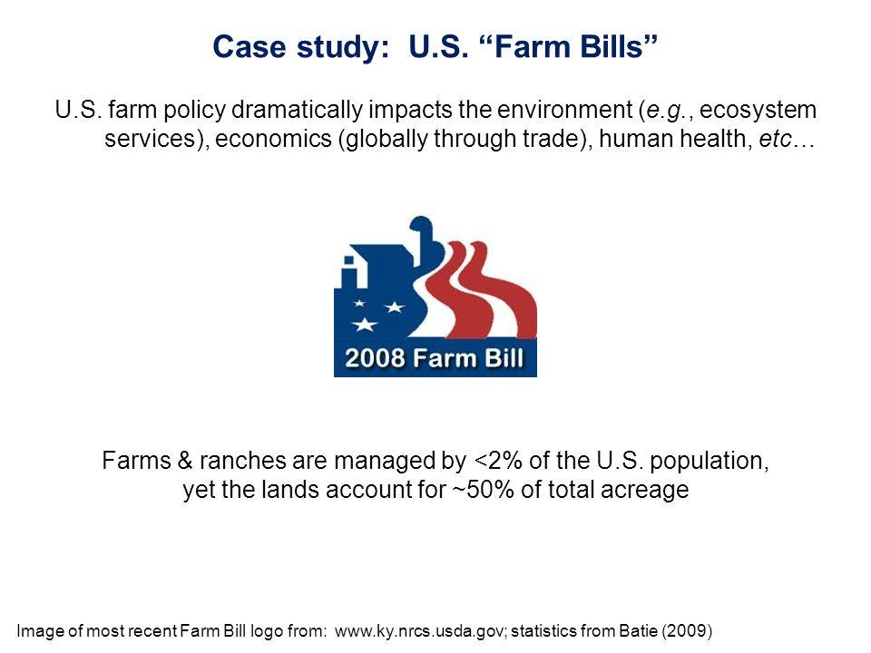 Image of most recent Farm Bill logo from: www.ky.nrcs.usda.gov; statistics from Batie (2009) Case study: U.S.