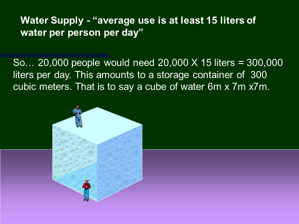 Water Supply - average use is at least 15 liters of water per person per day So… 20,000 people would need 20,000 X 15 liters = 300,000 liters per day.