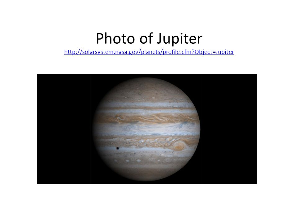 Jupiter Volume of Jupiter could fit 1,000 Earths inside 5.20 AU from the Sun Atmosphere made of 80% hydrogen & 20% helium Period of Revolution: 11.9 years or approx.