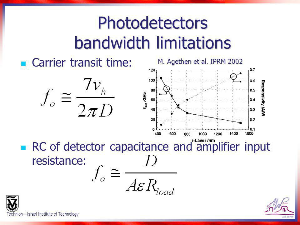 Confidential 13 TechnionIsrael Institute of Technology Photodetectors bandwidth limitations Carrier transit time: RC of detector capacitance and ampli