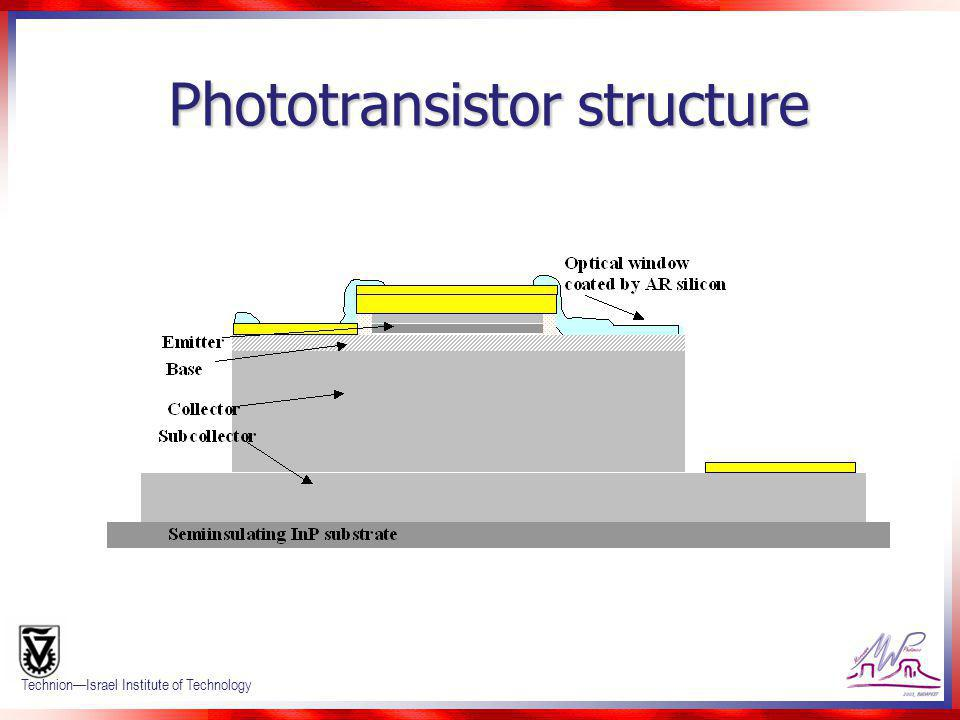 Confidential 3 TechnionIsrael Institute of Technology Phototransistor structure