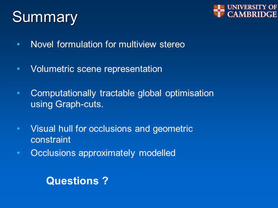 Summary Novel formulation for multiview stereo Volumetric scene representation Computationally tractable global optimisation using Graph-cuts. Visual