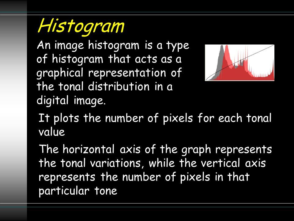 Histogram An image histogram is a type of histogram that acts as a graphical representation of the tonal distribution in a digital image. It plots the