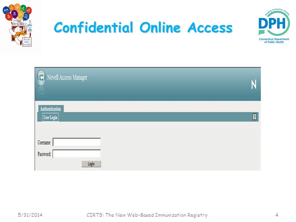 Confidential Online Access 5/31/20144 CIRTS: The New Web-Based Immunization Registry