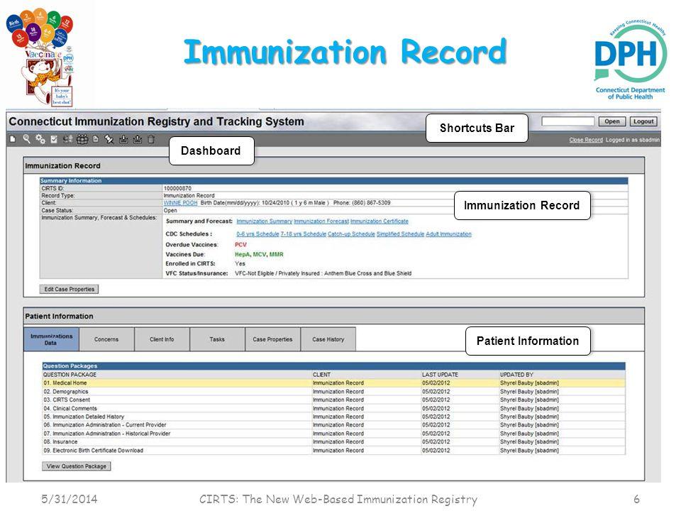 Immunization Record 5/31/2014 CIRTS: The New Web-Based Immunization Registry 6 Immunization Record Patient Information Shortcuts Bar Dashboard