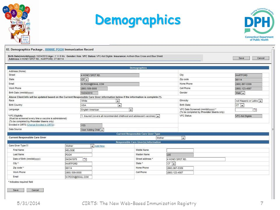 Immunization Summary Click the Immunization Summary link in the Summary Information section of the immunization record 5/31/2014 CIRTS: The New Web-Based Immunization Registry 8