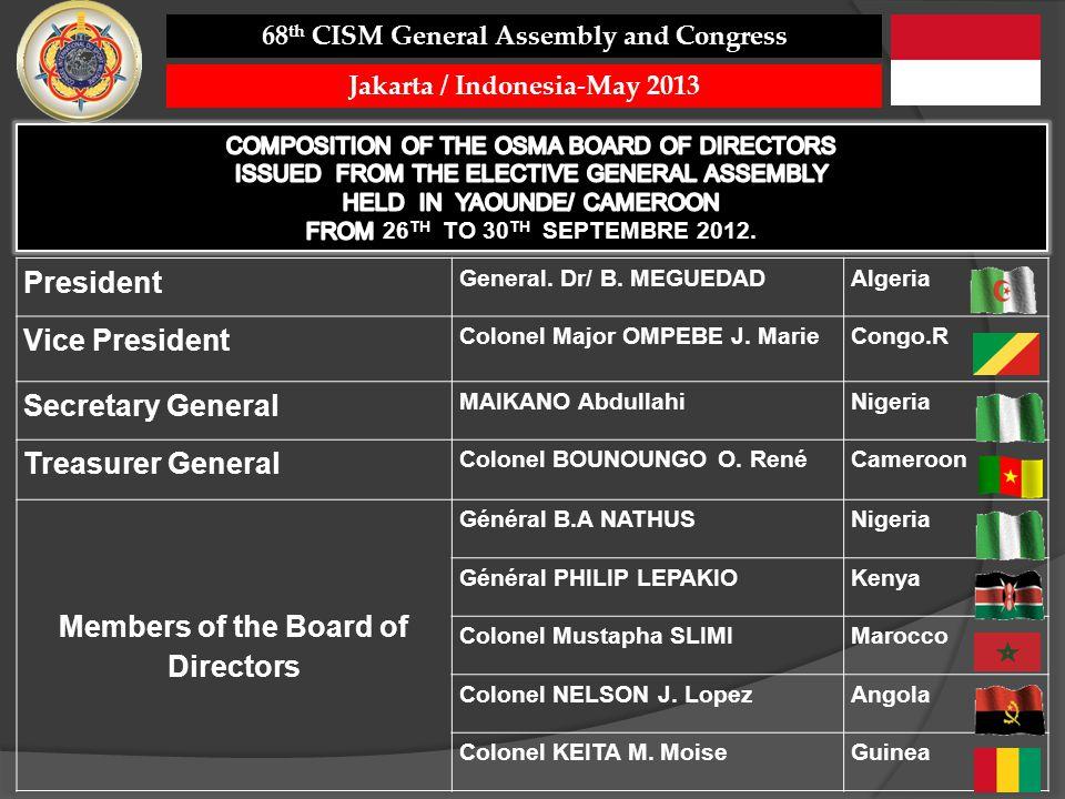 President General. Dr/ B. MEGUEDADAlgeria Vice President Colonel Major OMPEBE J. MarieCongo.R Secretary General MAIKANO AbdullahiNigeria Treasurer Gen