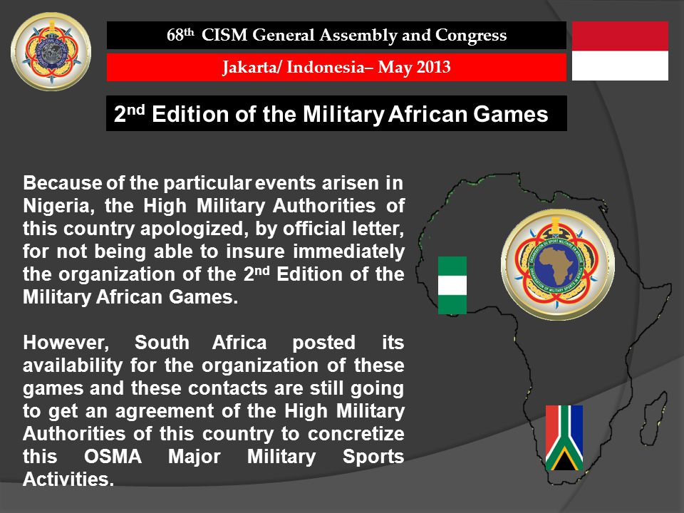 Because of the particular events arisen in Nigeria, the High Military Authorities of this country apologized, by official letter, for not being able to insure immediately the organization of the 2 nd Edition of the Military African Games.