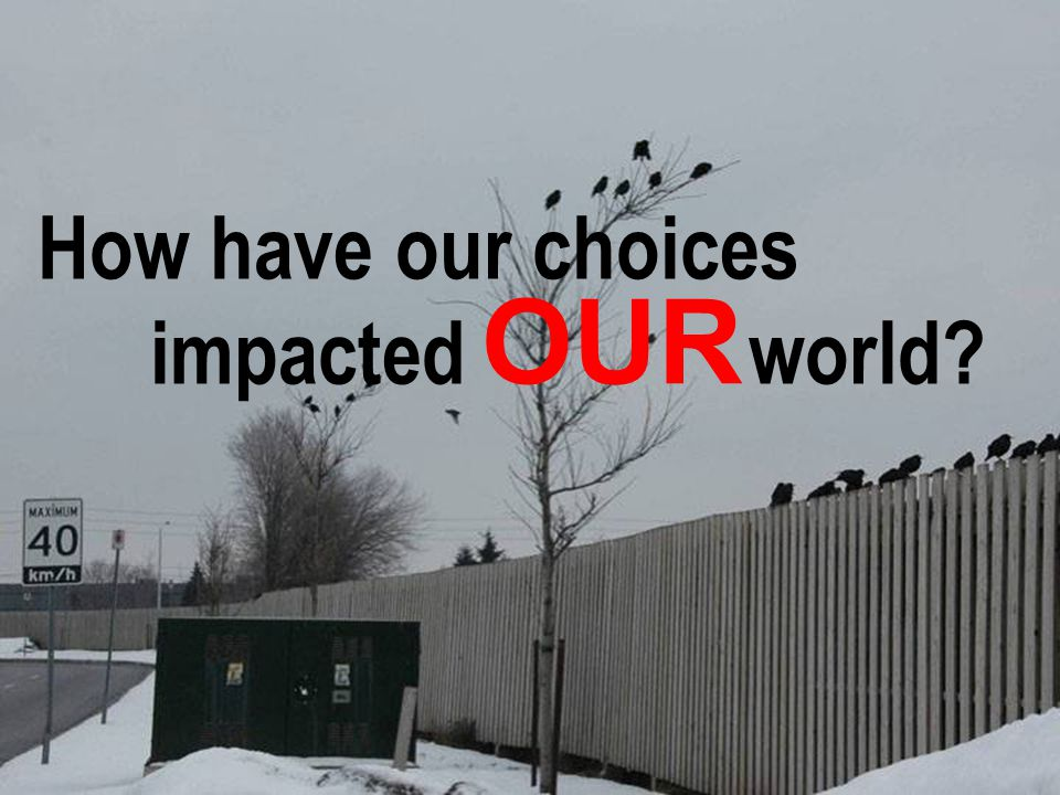 67 How have our choices impacted world? OUR