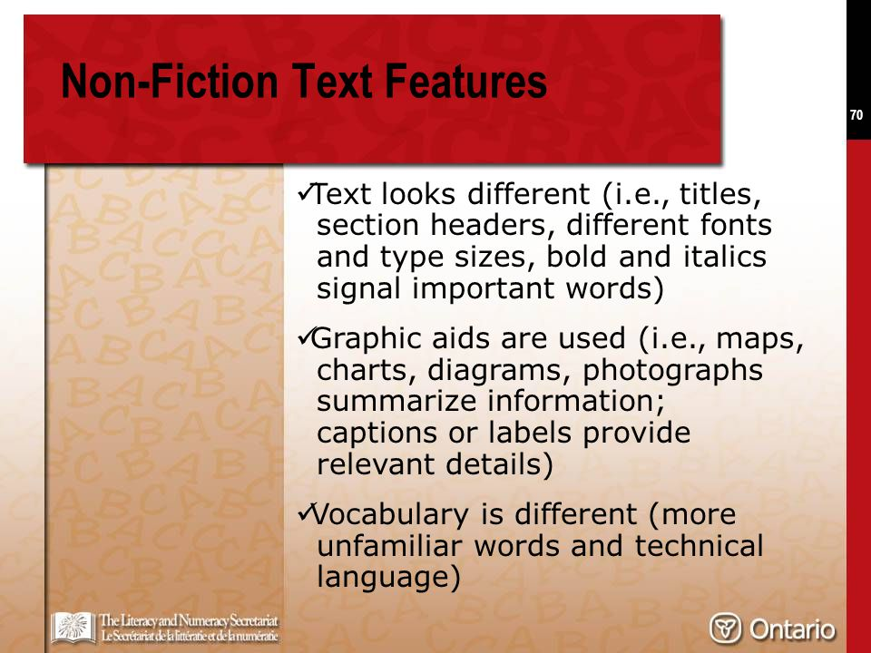 70 Non-Fiction Text Features Text looks different (i.e., titles, section headers, different fonts and type sizes, bold and italics signal important wo