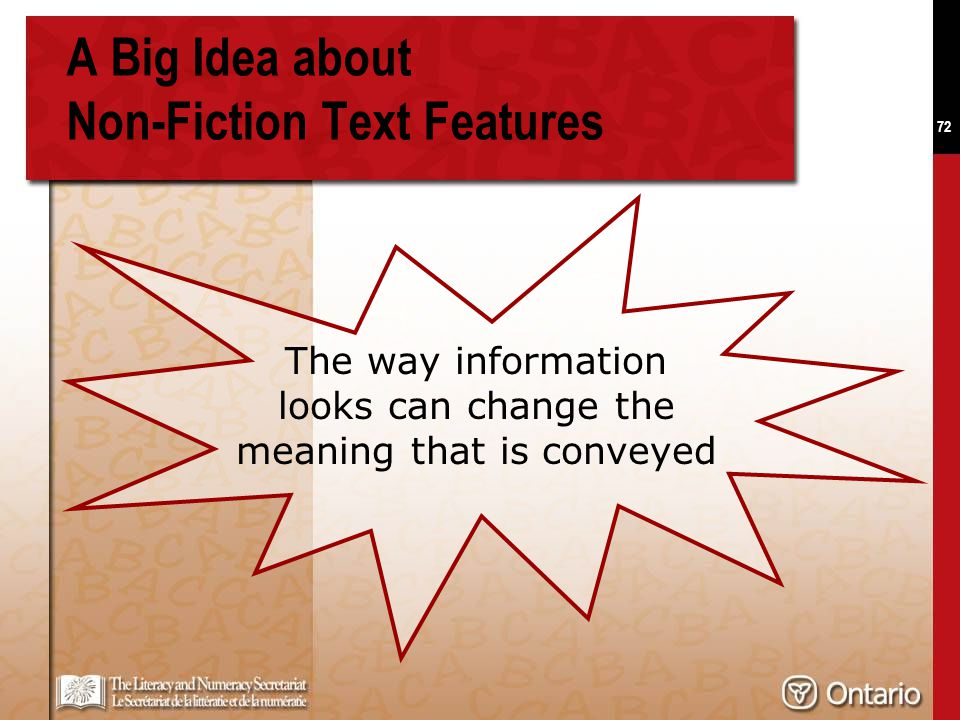 72 A Big Idea about Non-Fiction Text Features The way information looks can change the meaning that is conveyed