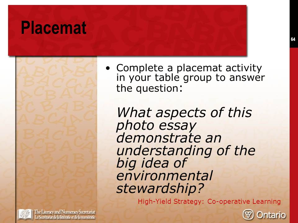 64 Placemat Complete a placemat activity in your table group to answer the question : What aspects of this photo essay demonstrate an understanding of