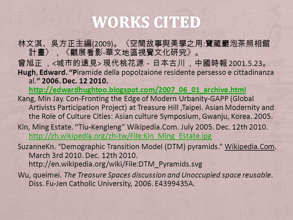 (2009) : - 2001.5.23 Hugh, Edward. Piramide della popolzaione residente persesso e cittadinanza al. 2006. Dec. 12 2010. http://edwardhughtoo.blogspot.
