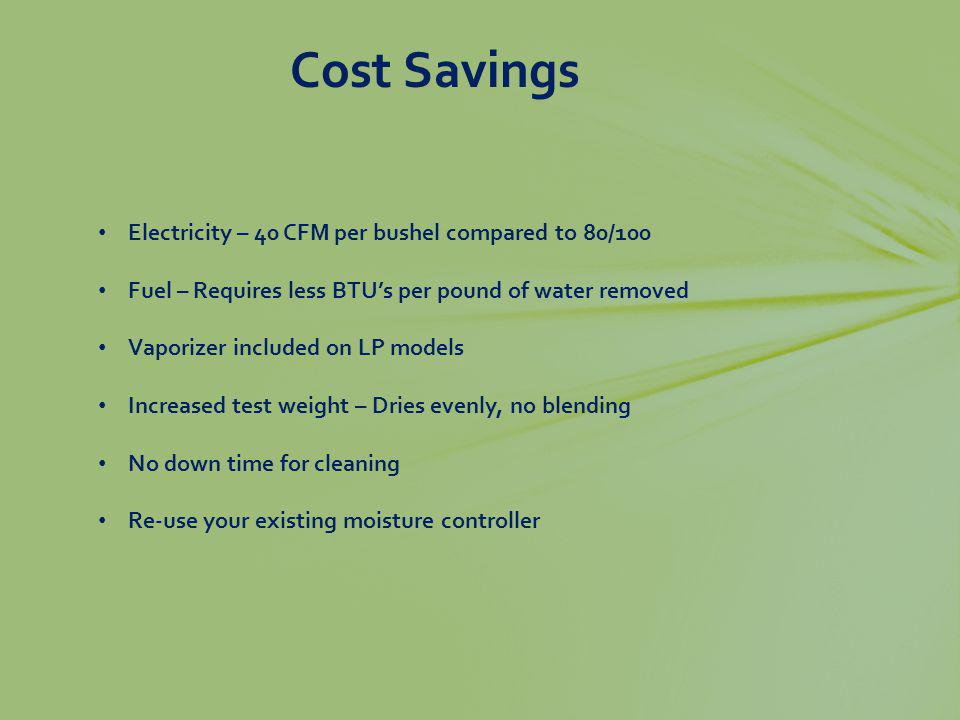 Cost Savings Electricity – 40 CFM per bushel compared to 80/100 Fuel – Requires less BTUs per pound of water removed Vaporizer included on LP models I