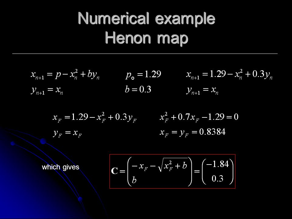Numerical example Henon map which gives