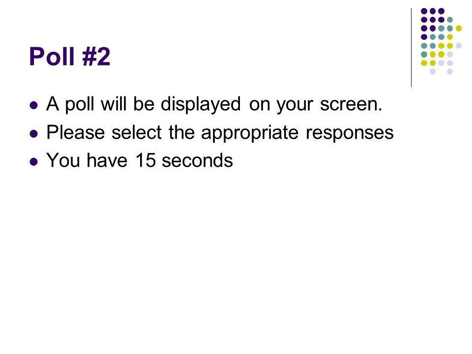 Poll #2 A poll will be displayed on your screen. Please select the appropriate responses You have 15 seconds