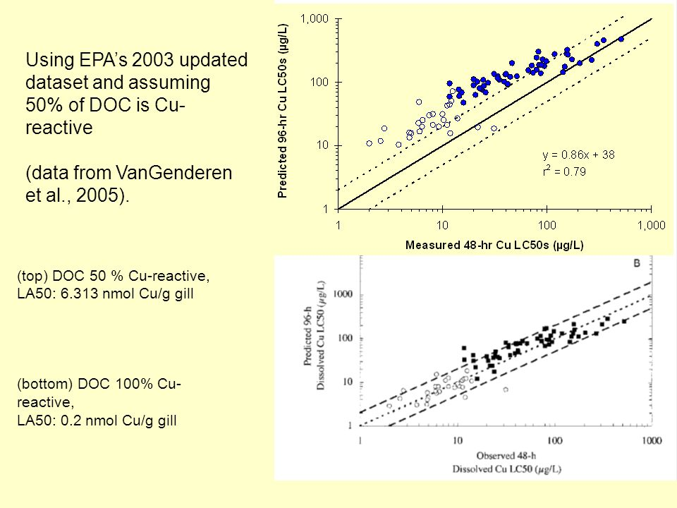 (top) DOC 50 % Cu-reactive, LA50: 6.313 nmol Cu/g gill (bottom) DOC 100% Cu- reactive, LA50: 0.2 nmol Cu/g gill Using EPAs 2003 updated dataset and assuming 50% of DOC is Cu- reactive (data from VanGenderen et al., 2005).