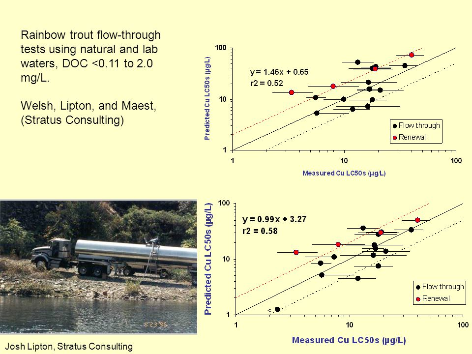 Assume DOC is 50% reactive as FA Assume DOC is 100% reactive as 90% FA, 10% HA Rainbow trout flow-through tests using natural and lab waters, DOC <0.1