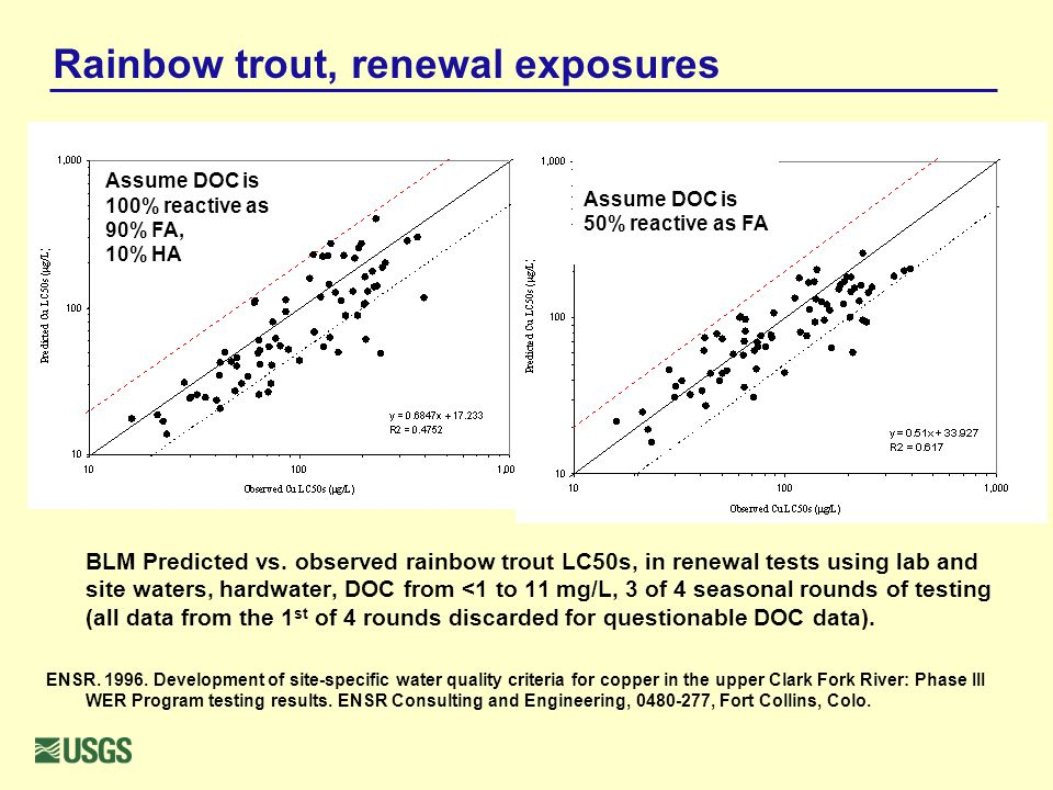 Rainbow trout, renewal exposures BLM Predicted vs. observed rainbow trout LC50s, in renewal tests using lab and site waters, hardwater, DOC from <1 to