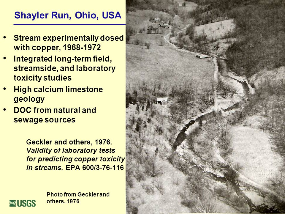 Shayler Run, Ohio, USA Stream experimentally dosed with copper, 1968-1972 Integrated long-term field, streamside, and laboratory toxicity studies High calcium limestone geology DOC from natural and sewage sources Geckler and others, 1976.