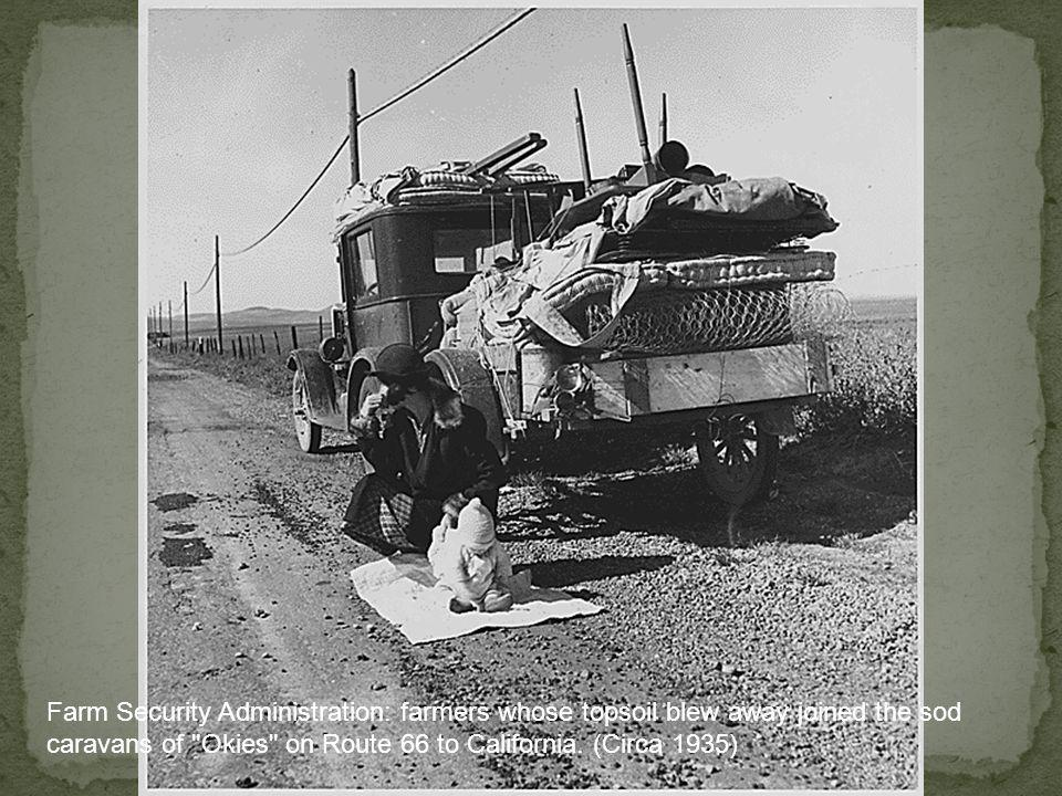 Farm Security Administration: farmers whose topsoil blew away joined the sod caravans of Okies on Route 66 to California.
