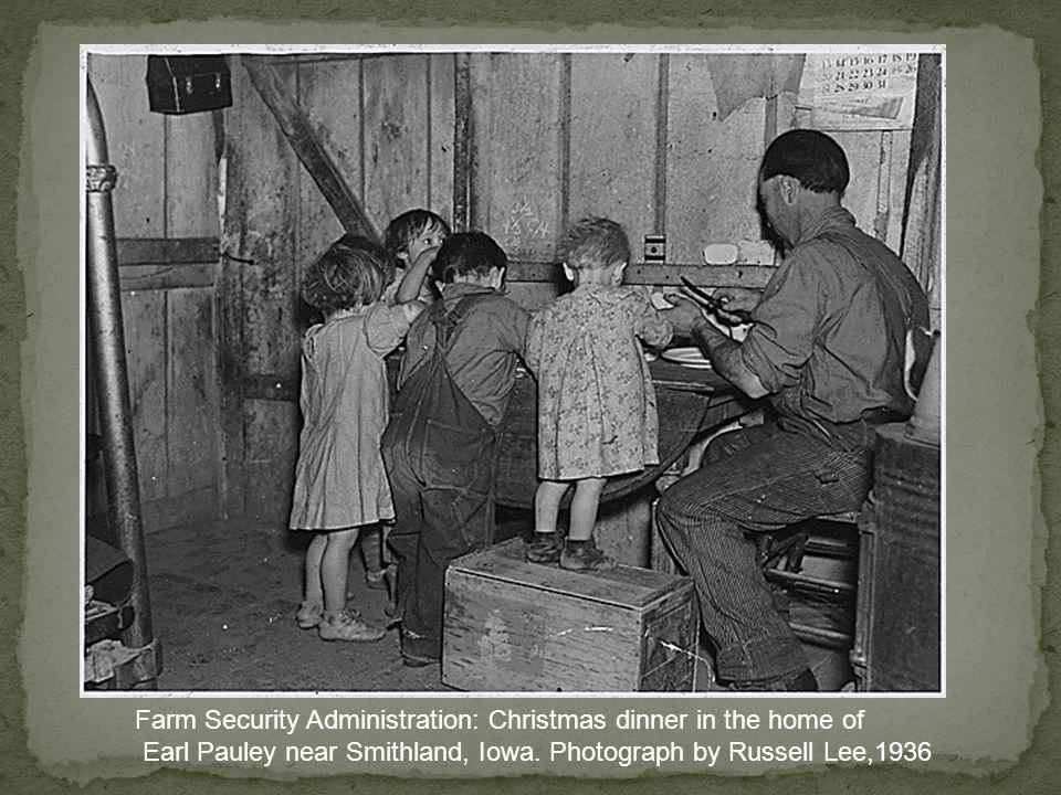 Farm Security Administration: Christmas dinner in the home of Earl Pauley near Smithland, Iowa.