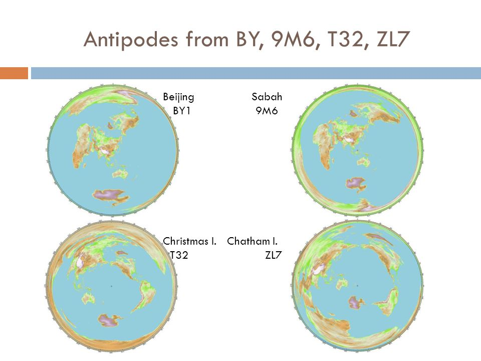 Antipodes from BY, 9M6, T32, ZL7 Beijing Sabah BY1 9M6 Christmas I. Chatham I. T32 ZL7
