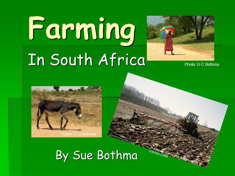Farming In South Africa Microsoft ® Encarta ® Reference Library 2005 Photo: G C Bothma By Sue Bothma