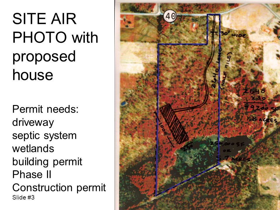 SITE AIR PHOTO with proposed house Permit needs: driveway septic system wetlands building permit Phase II Construction permit Slide #3