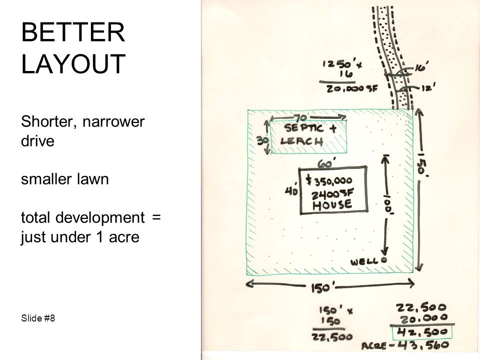BETTER LAYOUT Shorter, narrower drive smaller lawn total development = just under 1 acre Slide #8