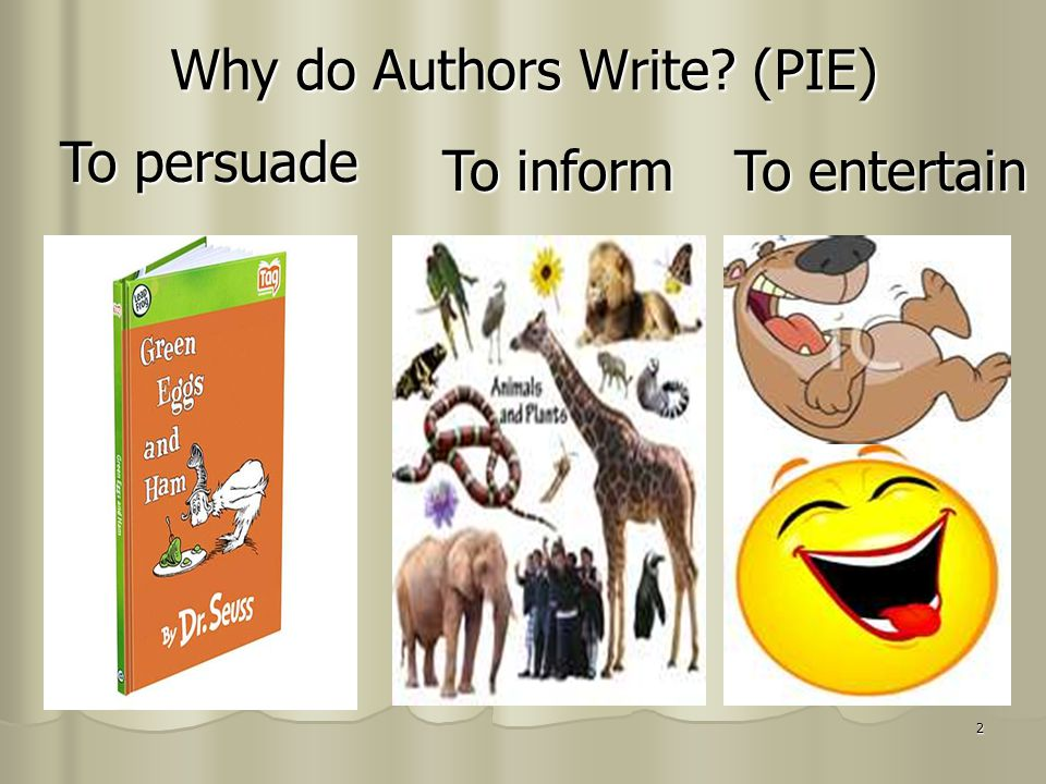 2 Why do Authors Write? (PIE) To persuade To inform To entertain