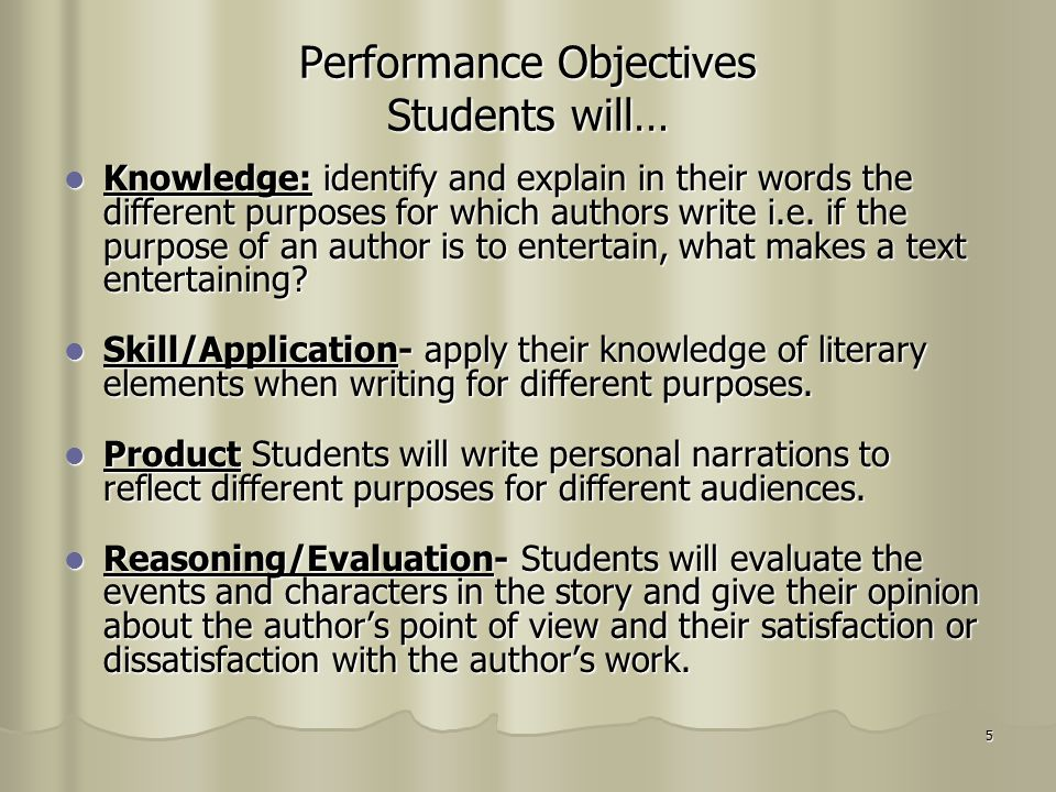 5 Performance Objectives Students will… Knowledge: identify and explain in their words the different purposes for which authors write i.e. if the purp