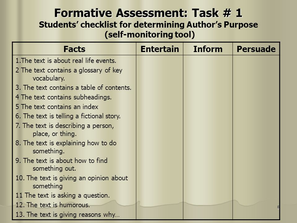 8 Formative Assessment: Task # 1 Formative Assessment: Task # 1 Students checklist for determining Authors Purpose (self-monitoring tool) FactsEnterta