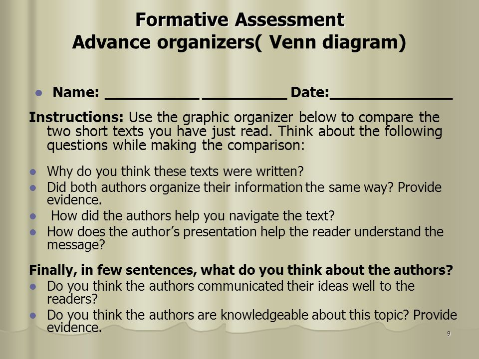 9 Formative Assessment Formative Assessment Advance organizers( Venn diagram) Name: __________ _________ Date:_____________ Instructions: Use the grap