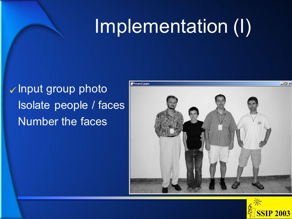 Implementation (I) Input group photo Isolate people / faces Number the faces