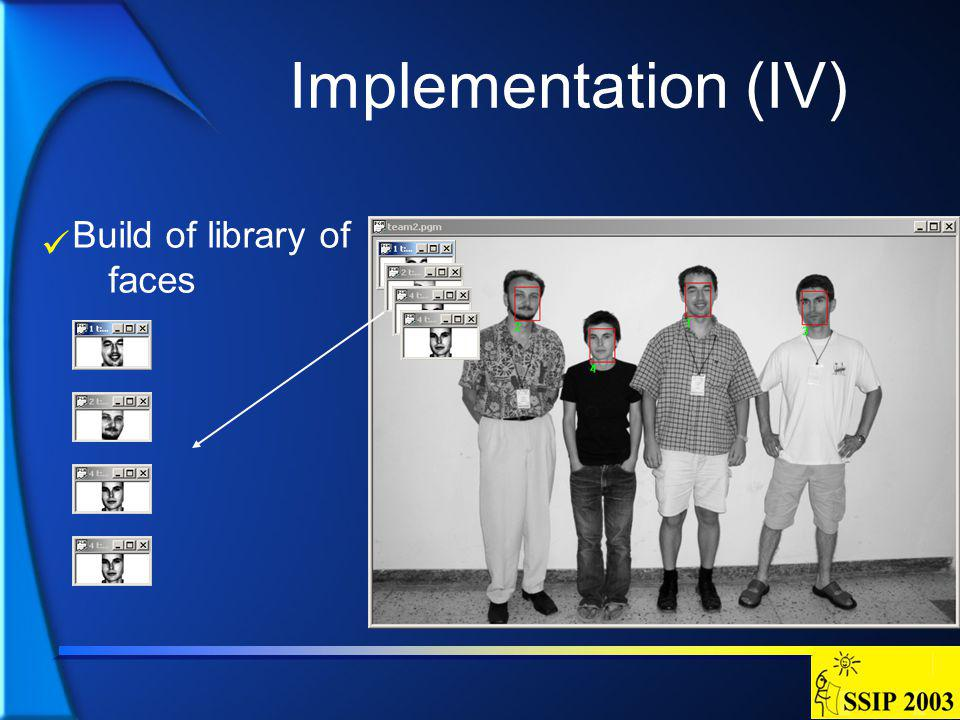 Implementation (IV) Build of library of faces
