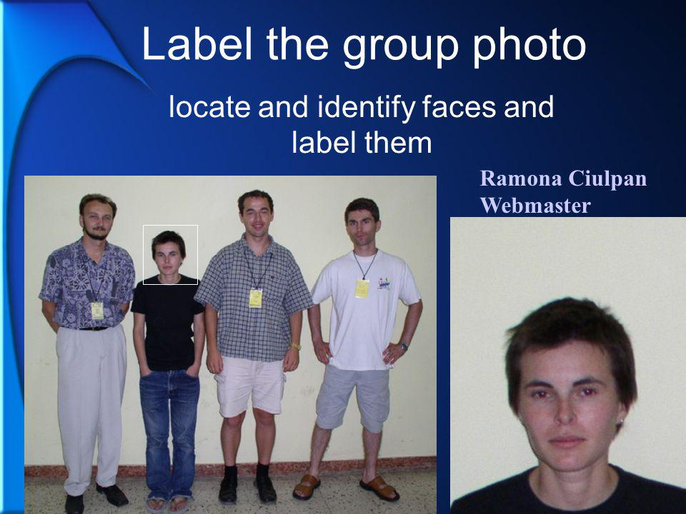 Ramona Ciulpan Webmaster Label the group photo locate and identify faces and label them
