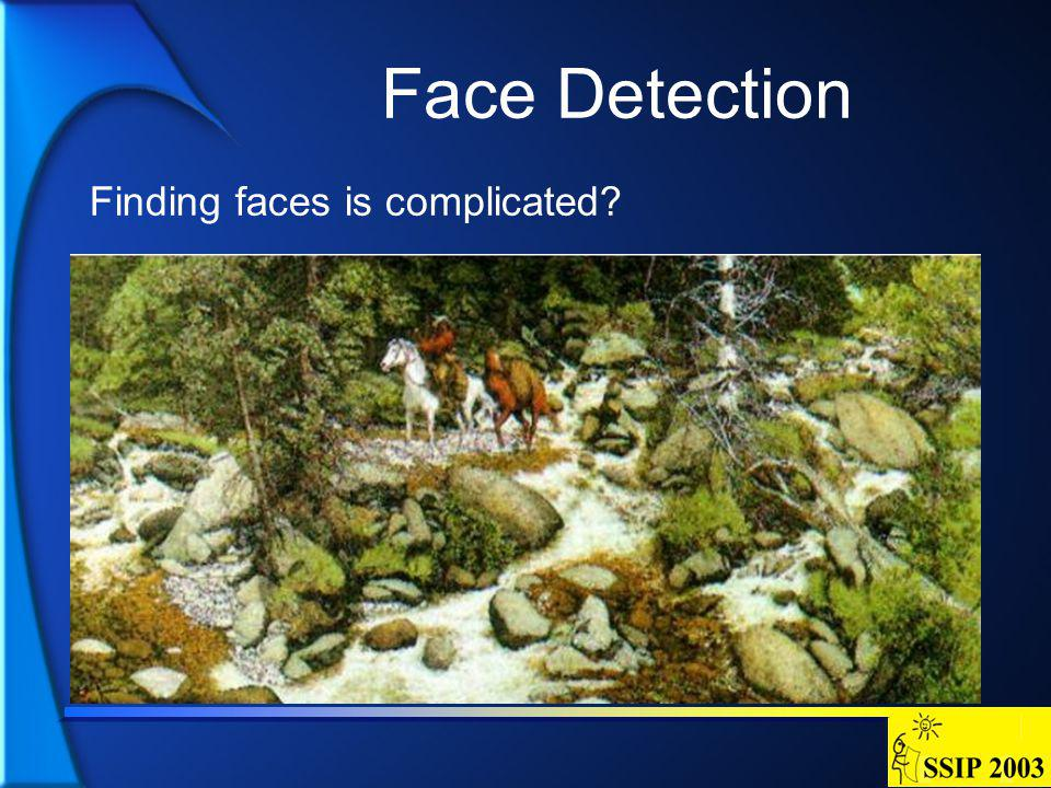 Face Detection Finding faces is complicated?
