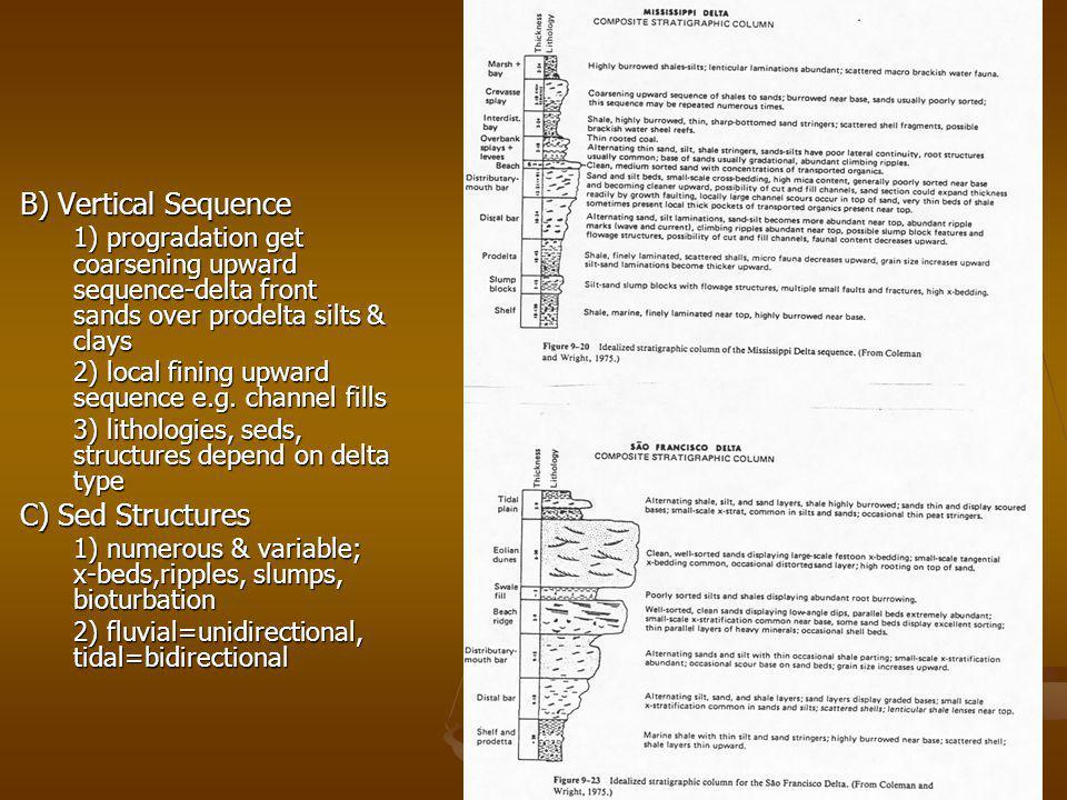 B) Vertical Sequence 1) progradation get coarsening upward sequence-delta front sands over prodelta silts & clays 2) local fining upward sequence e.g.