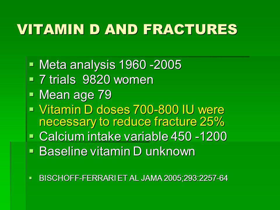 VITAMIN D AND FRACTURES Meta analysis 1960 -2005 Meta analysis 1960 -2005 7 trials 9820 women 7 trials 9820 women Mean age 79 Mean age 79 Vitamin D do