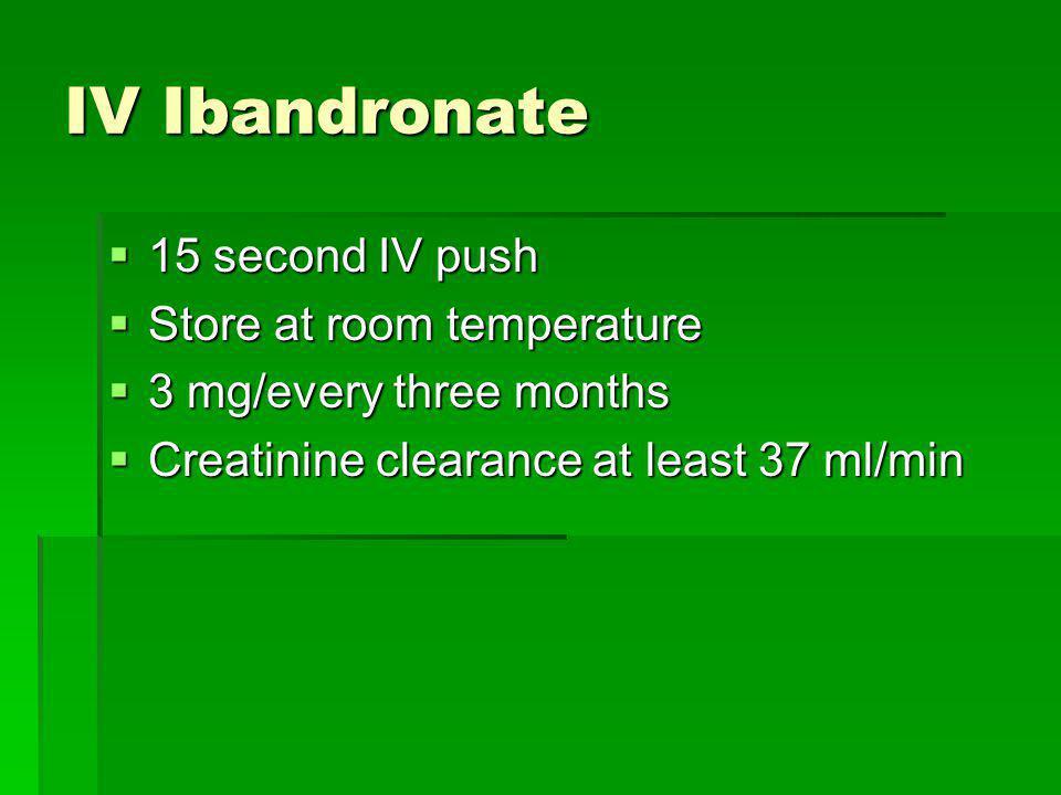 IV Ibandronate 15 second IV push 15 second IV push Store at room temperature Store at room temperature 3 mg/every three months 3 mg/every three months