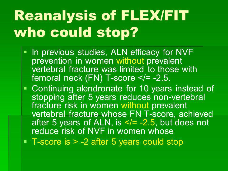 Reanalysis of FLEX/FIT who could stop? In previous studies, ALN efficacy for NVF prevention in women without prevalent vertebral fracture was limited