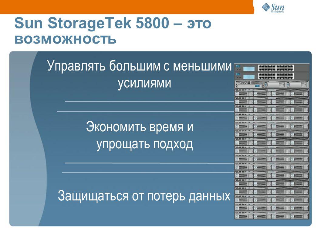 Управлять большим с меньшими усилиями Экономить время и упрощать подход Sun StorageTek 5800 – это возможность Защищаться от потерь данных