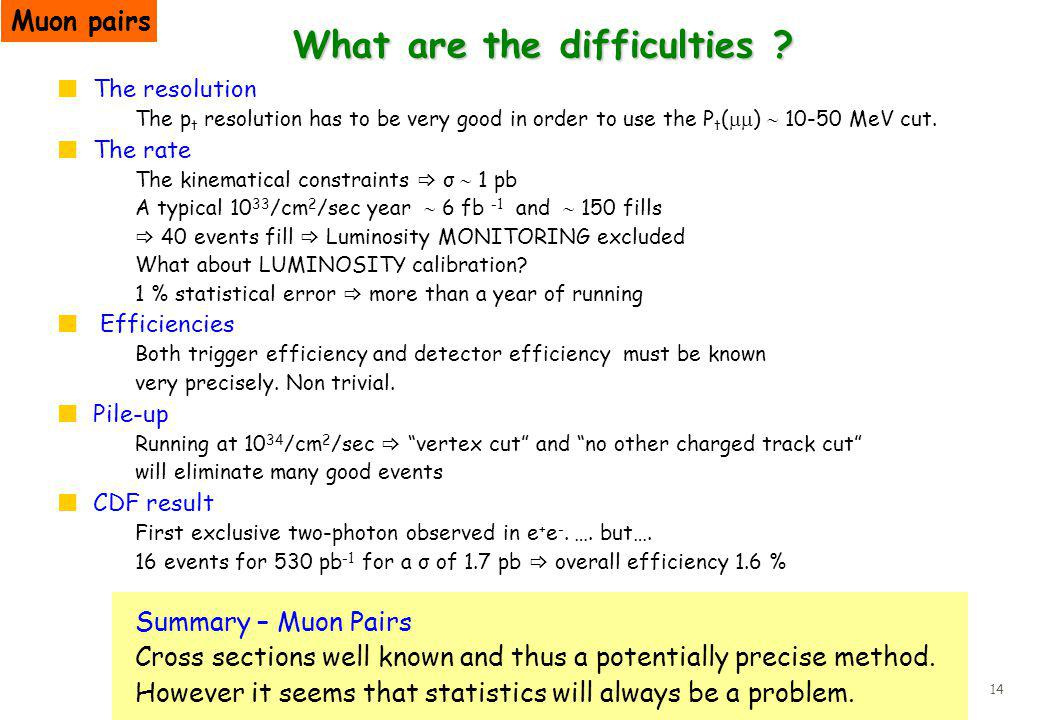 14 What are the difficulties .