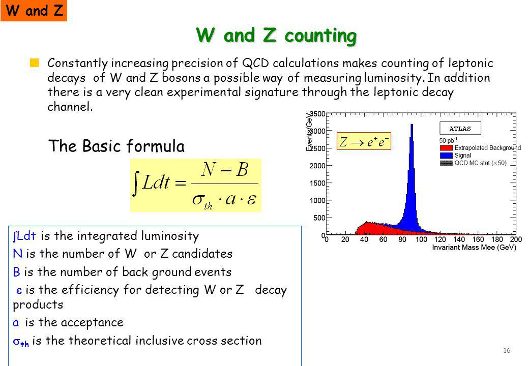 16 W and Z counting Constantly increasing precision of QCD calculations makes counting of leptonic decays of W and Z bosons a possible way of measurin