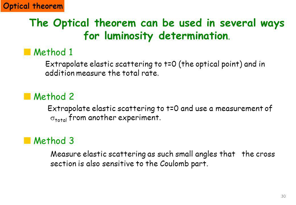 30 The Optical theorem can be used in several ways for luminosity determination. Method 1 Extrapolate elastic scattering to t=0 (the optical point) an