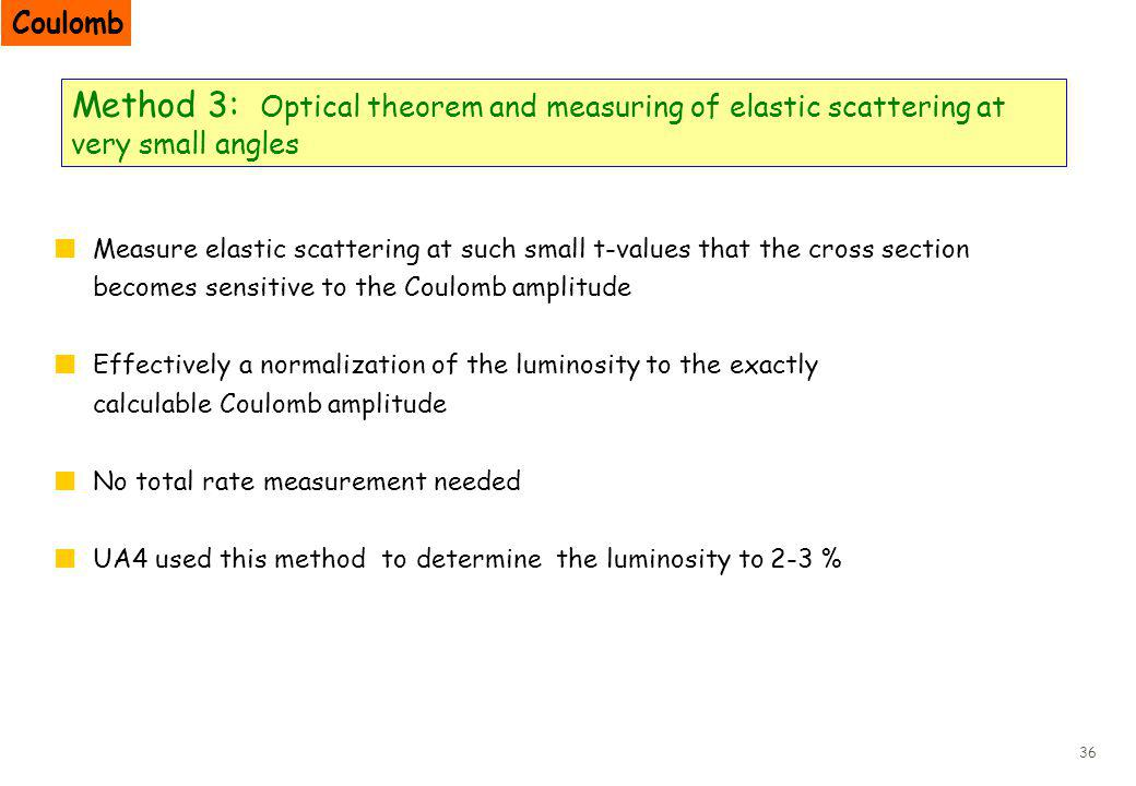 36 Method 3: Optical theorem and measuring of elastic scattering at very small angles Measure elastic scattering at such small t-values that the cross section becomes sensitive to the Coulomb amplitude Effectively a normalization of the luminosity to the exactly calculable Coulomb amplitude No total rate measurement needed UA4 used this method to determine the luminosity to 2-3 % Coulomb