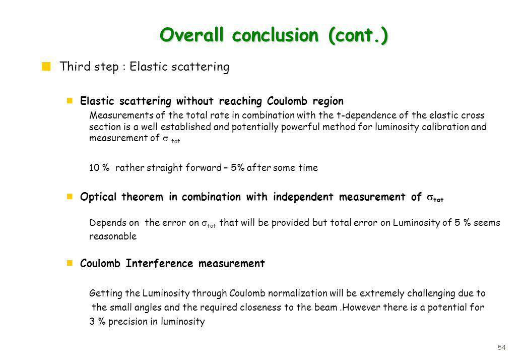 54 Overall conclusion (cont.) Third step : Elastic scattering Elastic scattering without reaching Coulomb region Measurements of the total rate in combination with the t-dependence of the elastic cross section is a well established and potentially powerful method for luminosity calibration and measurement of tot 10 % rather straight forward – 5% after some time Optical theorem in combination with independent measurement of tot Depends on the error on tot that will be provided but total error on Luminosity of 5 % seems reasonable Coulomb Interference measurement Getting the Luminosity through Coulomb normalization will be extremely challenging due to the small angles and the required closeness to the beam.However there is a potential for 3 % precision in luminosity