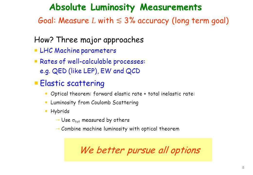 8 Absolute Luminosity Measurements Goal: Measure L with 3% accuracy (long term goal) How? Three major approaches LHC Machine parameters Rates of well-