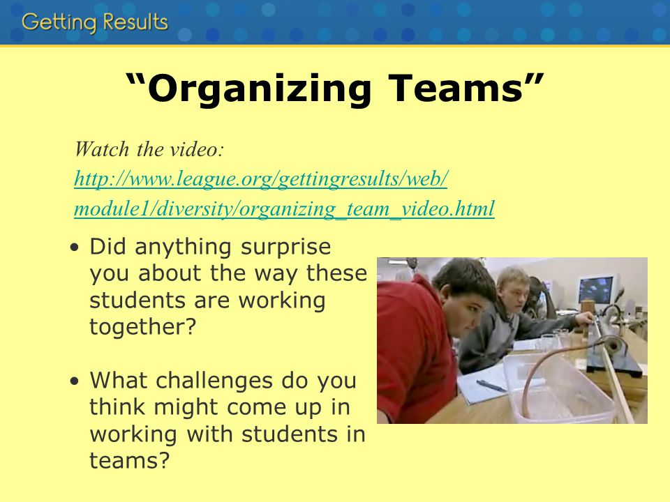 Organizing Teams Watch the video: http://www.league.org/gettingresults/web/ module1/diversity/organizing_team_video.html Did anything surprise you about the way these students are working together.